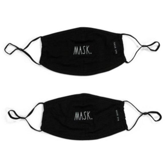 "Rae Dunn Face Masks, ""Mask"" Design- Black, Set"